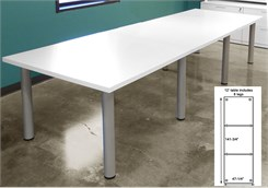 12' White Laminate Conference Table