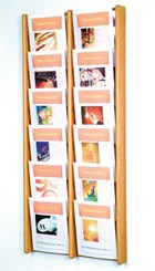 Oak & Acrylic Wall Racks -- 12 Pocket Magazine Wall Rack