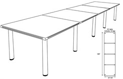 16' White Laminate Conference Table