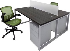 TrendSpaces Compact 2-Desk Back-To-Back Workstation Set