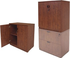 "Cherry Laminate 36""H 2-Door Locking Storage Cabinet"
