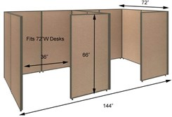 "66""H 2-Person Private Office Cubicles for 72""W Desks"
