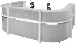 White U-Shaped 2-Person Glass Top Reception Desk