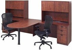 Cherry Laminate 2-Person Peninsula Workstation w/Hutches