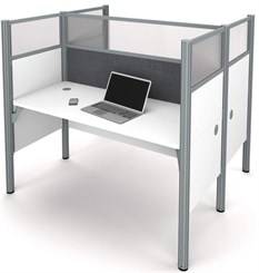 White 2-Person Back-to-Back Cubicle Workstation w/ Windows