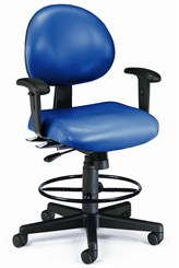 24-Hour Multi-Shift Stool w/ Arms in Antimicrobial Vinyl