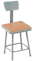 "24"" Square Fixed Height Heavy-Duty Stool w/Backrest"