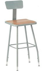 "25""-33"" Square Adjustable Height Heavy-Duty Stool w/Backrest"