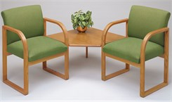 2 Arm Chairs w/Corner Table in Standard Fabric or Vinyl