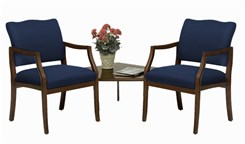 Franklin 2 Arm Chairs w/Corner Table in Standard Fabric or Vinyl