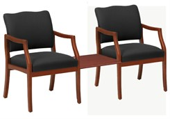 Franklin 2 Arm Chairs w/Center Table in Upgrade Fabric or Healthcare Vinyl