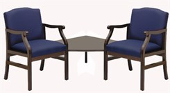 2-Arm Chairs w/Corner Table in Standard Fabric or Vinyl