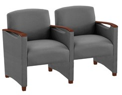 2 Seats w/Center Arm in Upgrade Fabric or Healthcare Vinyl