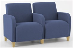 2 Seats w/ Center Arm in Standard Fabric or Vinyl