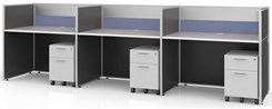 "Sync Custom Cubicles - 43""H 3-Person Bench Workstation"