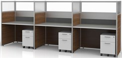"Sync Custom Cubicles - 57""H 3-Person Workstation"
