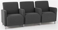 3 Seats w/ Center Arms  in Standard Fabric or Vinyl