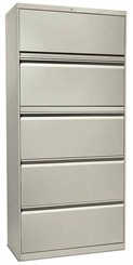 "30""W 5-Drawer Lateral File, 1 Roll-Out Shelf with Posting Shelf (with lock)"