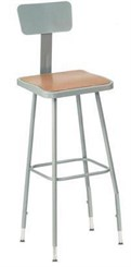 "31""-39"" Square Adjustable Height Heavy-Duty Stool w/Backrest - 19""-27""H Lab Stool"