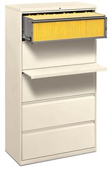 "36""W 5-Drawer Lateral File, 1 Roll-Out Shelf with Posting Shelf (with lock)"
