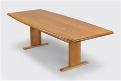 "36""/42"" x 96"" Solid Oak Boat Shaped Conference Table"