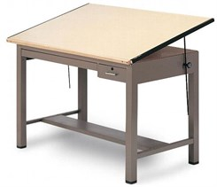 "37-1/2"" x 48"" Drawing Table w/ Tool & Shallow Drawers"