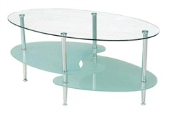 38&quot; Wave Dual Oval Glass Coffee Table