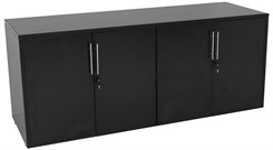 Black 4-Door Locking Storage Credenza