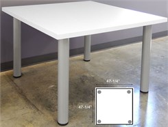 4' Square White Laminate Conference Table