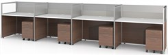 "Sync Custom Cubicles -  43""H 4-Person Bench Workstation"