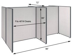 "66""H 4-Person Open Cluster Cubicle for 48""W Desks"