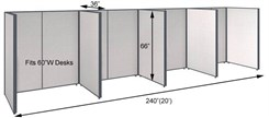 "66""H 4-Person Single Row Open Cubicle for 60""W Desks"