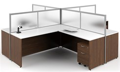 Basics Custom Cubicle - 12' x 12' / 4-Person L-Workstation
