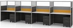 "Sync Custom Cubicles - 57""H 4-Person Workstation"