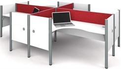 White 4-Person Cluster Cubicle Workstation