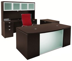 Glass Front Mocha 4-Piece Furniture Package