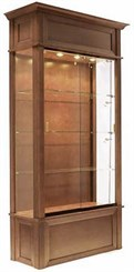 """40""""W Wood Veneer Traditional Display Case w/ Side Lights"""
