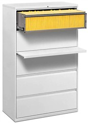 "42""W 5-Drawer Lateral File, 1 Roll-Out Shelf with Posting Shelf (with lock)"