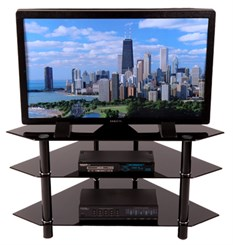 "44"" Bermuda Glass Corner Black Stand w/3 Levels"
