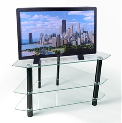 "44"" Bermuda Glass Corner Stand w/3 Levels Clear Black"