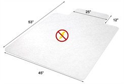 "45"" x 53"" Anti-Static Low Pile Carpet T-Shape Chair Mat  w/ Beveled Edges"