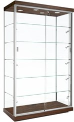 "48""W Aluminum Frame Display Case w/ Micro Halogen Spotlights"