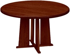 "48"" Round Solid Oak Conference Table"