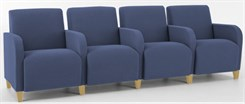 4 Seat Sofa w/ Center Arms in Standard Fabric or Vinyl