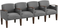4 Seats w/Center Arms in Standard Fabric or Vinyl
