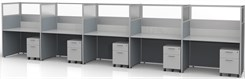 "Sync Custom Cubicles - 57""H 5-Person Workstation"