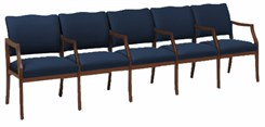 Franklin 5 Seat Sofa w/ Center Arms in Standard Fabric or Vinyl