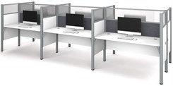 White 6-Person Cubicle Workstation w/ Windows