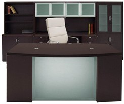 Glass Front Mocha Office Furniture 6-Piece Suite