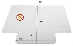"60"" x 60"" Anti-Static Low Pile Carpet T-Shape Chair Mat  w/ Beveled Edges"